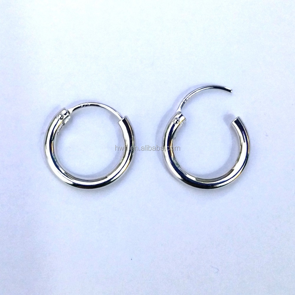 H192-2x15mm Sterling Silver Hollow Tube Earring Hoops Rhodium Plated