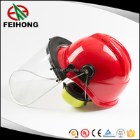 Chemical industry Safety helmet with PC face shield and ear muff passed CE