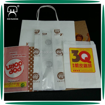 Food Packaging Customized Take Away Paper Food Bag