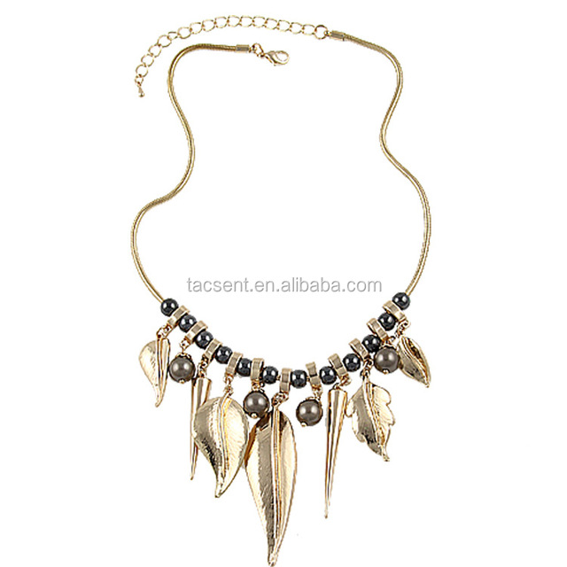 Indian style jewelry, Zinc alloy leaf charms necklace stocks, Indian jewelry necklace in stocks