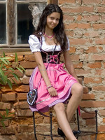 2014 Mini Dirndl with blouse and apron Octuber festival , Trachten Dirndl Dress , Traditional Bavarian Dirndl