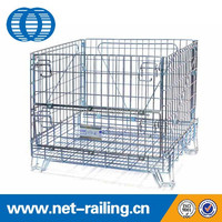 Galvanized warehouse collapsilbe stackable steel wire cage