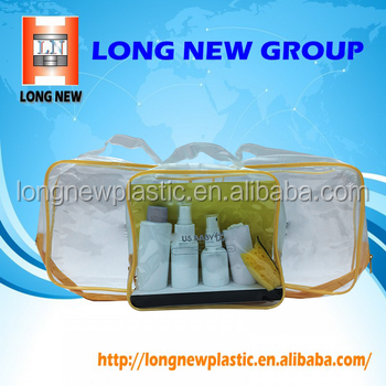 OEM yellow rim clear PVC carrying bag alibaba china