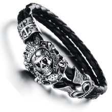 2015 new trendy products western jewelry north skull bracelet