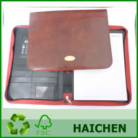 A4 zipper closure PU file folder/manager portfolio for business