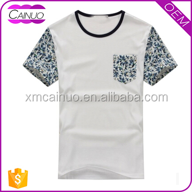 Rib Collar Tees White Pocket T shirts Manufacturers