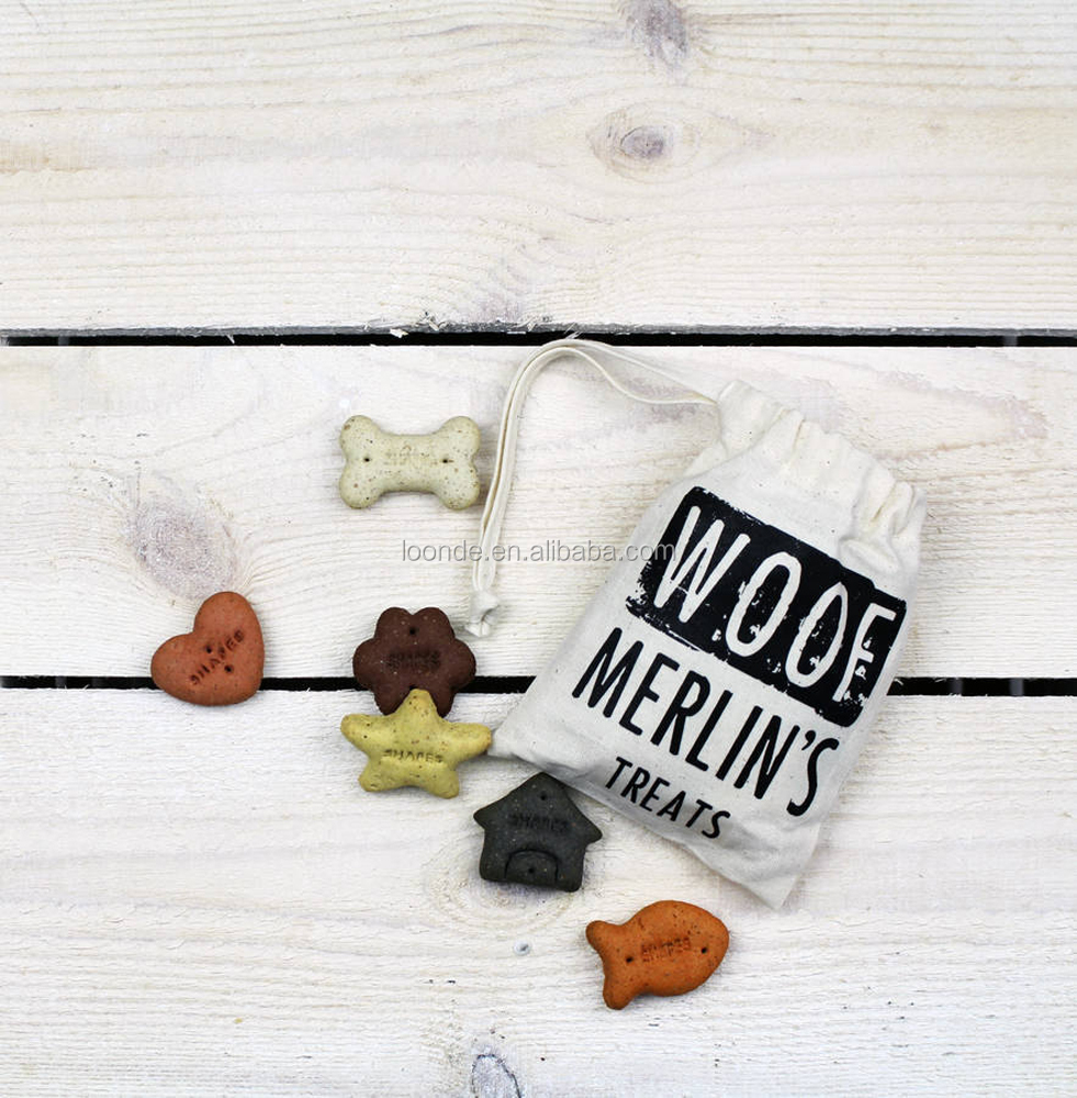 Personalised cotton knit fabric dog treat mini bag