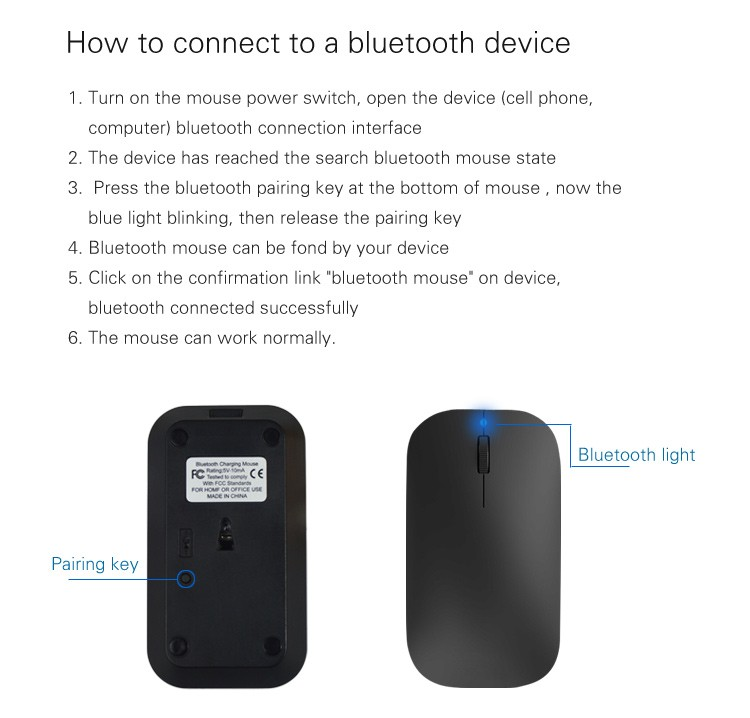New arrival ultra slim rechargeable designer wireless bluetooth mouse