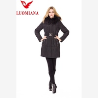 hotest style ladies lamb leather fashion down jackets with fur collar