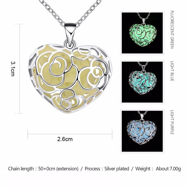 NK0712 JN moon glow necklace heart pendant hollow metal heart necklace designs custom