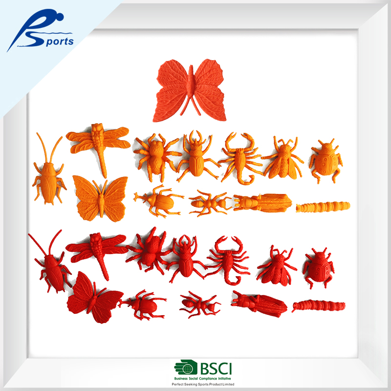 Beautiful design Insect Set/Various funny plastic insect toys/72 pcs Insect Set 6colors 12shapes