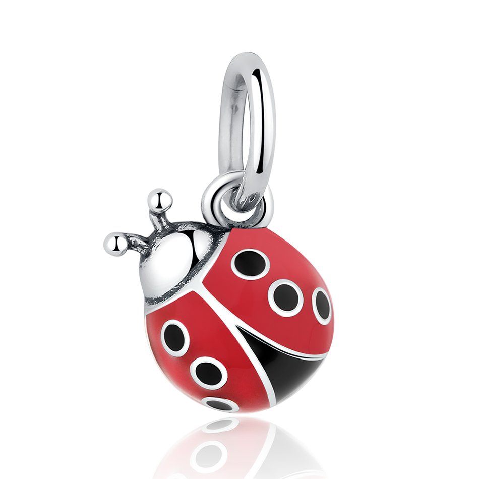 Original 925 Sterling Silver Enamel Charm Beads Ladybug Dangle Charms for Bangles DIY Jewelry Making