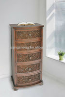 Antique 5 drawer chest living room cabinet corner console table