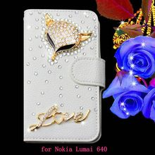 Dazzling beautiful rhinestone wallet case leather phone protective cover for Nokia Lumia 640