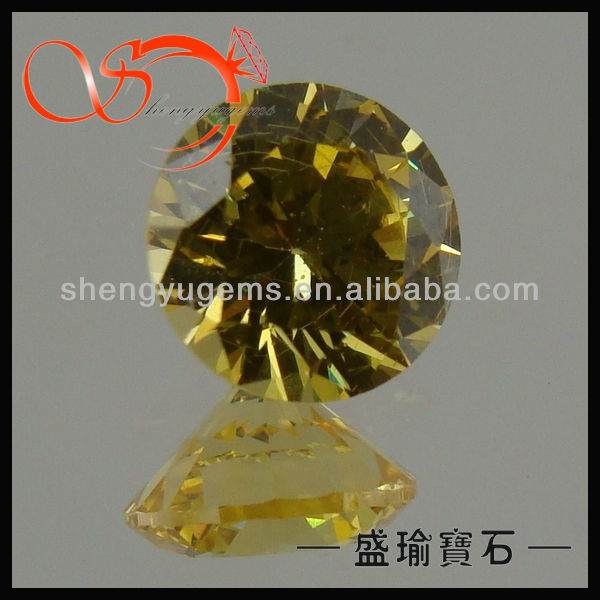 loose diamonds golden yellow round stones factory(CZRD0001-7mm8#)