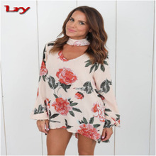 European Fashion V-Neck Woman Clothing Sexy Neckline Printed Comfortable Chiffon Blouse