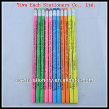 High Quality Round 7'' Wooden HB Pencil With Top Eraser Of Heat Transfer Printing