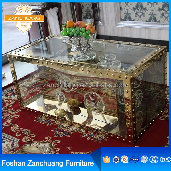 Box Shaped Vintage Meatl Frame Glass Coffee Table With Storage