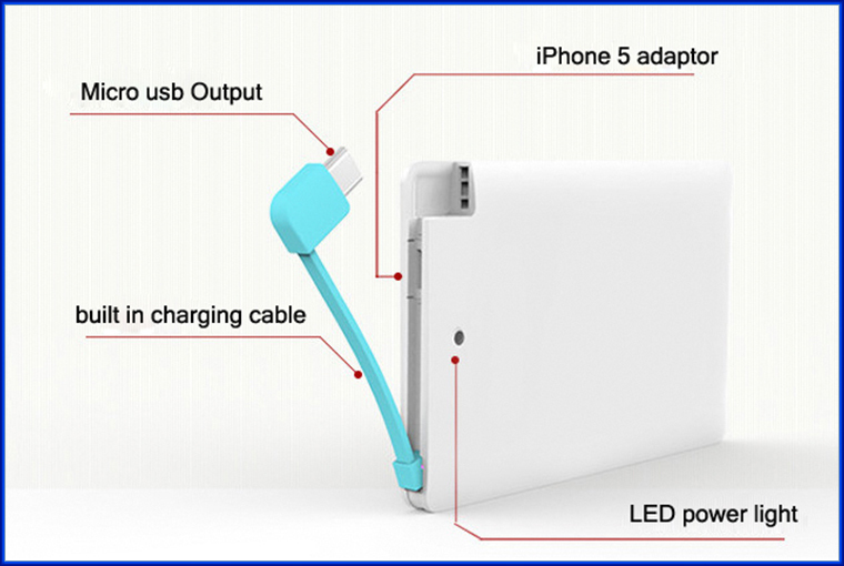 Built-in cable portable credit card power bank 2600mah with rechargeable battery for iPhone 6
