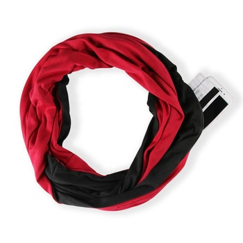 Wholesale Women Hidden Pocket Infinity Scarf Black Red Splicing Shawls Winter