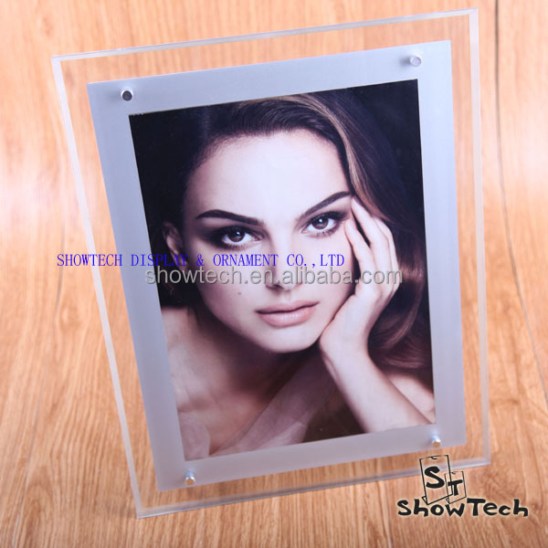 High quality low cost acrylic led photo frame with hot open sexy girl picture for A4 size ST-APFLA4-06