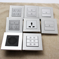 Customized 5V Dry Contact Silver Brushed Aluminium Soft Touch Press Key Smart Hotel Room Solution Wall Switches System