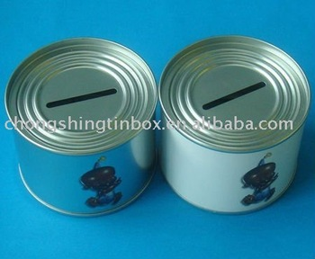 Coin saving tin box for children