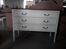 European French Style White Antique Wood Drawer Bedside Table