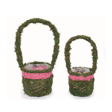 Round Moss Handle Flower Girl Basket Easter Basket