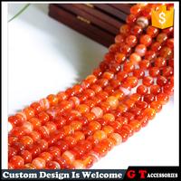 Top Quality Natural Orange Vein Agate Beads Semi Precious Gemstone Beads 8-12mm Loose Round Beads