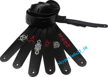 Black leather guitar strap custom OEM electric guitar strap from China