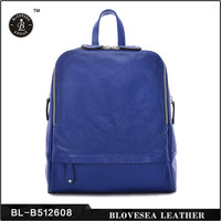 European OL Style Royal Blue Simple Grain Genuine Leather Girl Solid Color Backpack