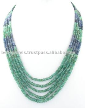 Natural Emerald Sapphire Beaded Necklace London