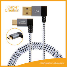 Left Angle Gold-Plated Micro USB Cable Braided High Speed v2.0 USB to Micro USB Charger Cord Cable for Samsung Android