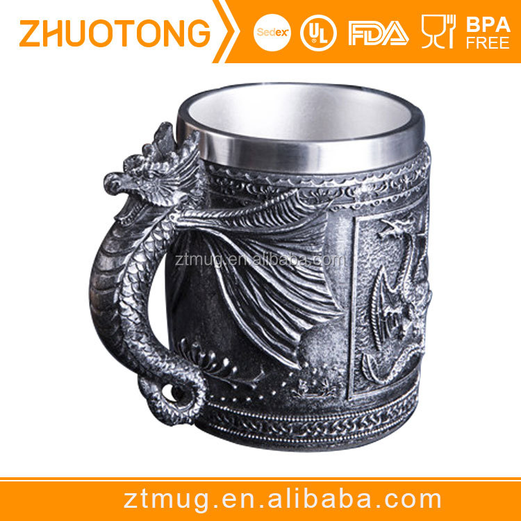 Personalized Double Wall 3D Skull Mugs Coffee <strong>Cup</strong> Mug Skull Knight Tankard Dragon Drinking <strong>Cup</strong>