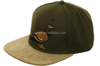 Corduroy Bird Embroidery Logo Brown Snapback Hat