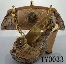Competitive price African ladies Matching shoes and bag for wedding and party TY0033 in brown