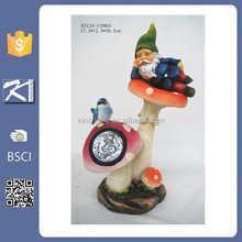 solar power mushroom standing polyresin small gnome figurines