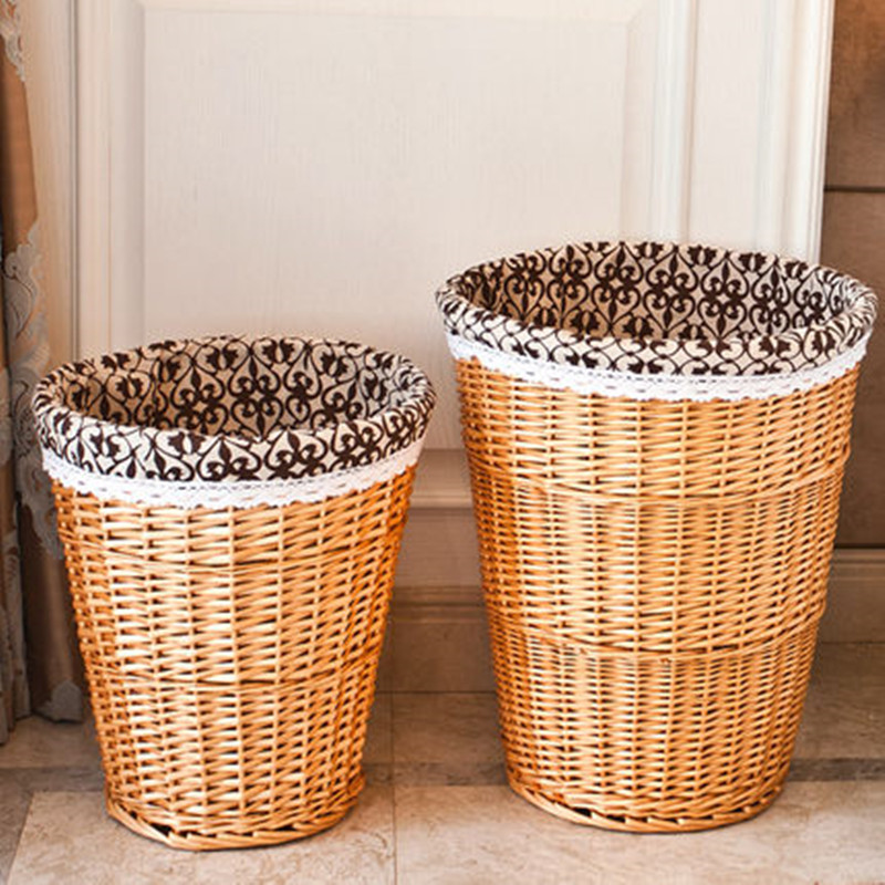 Cheap handmade cone-shape lined wicker storage basket
