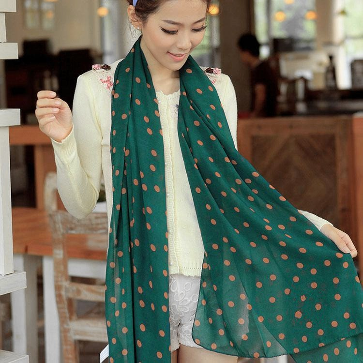 Fashion Women Lady Chiffon Scarf Polka Dot Print Soft Shawl Long Wrap Pashimina Dark Green