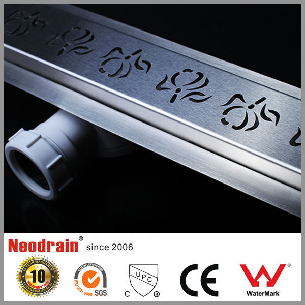 Long plastic shower linear floor drain with wall mount design