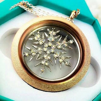 2015 Fashion Gold Twist Sparkle Round Locket Jewelry Pendent 30mm