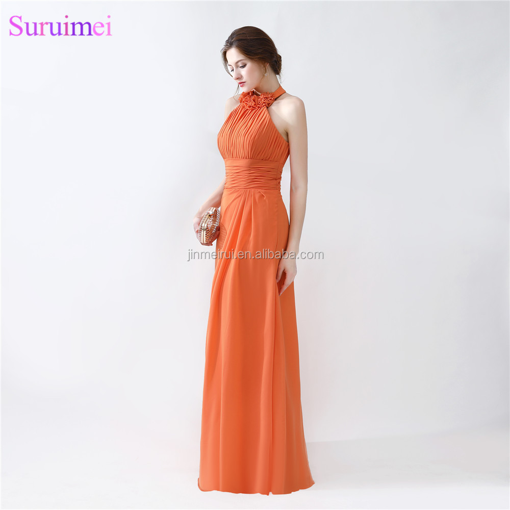 Orange Bridesmaid Dresses Floor Length Pleated Peach Color Chiffon On Sale Halter Bridesmaid Dresses