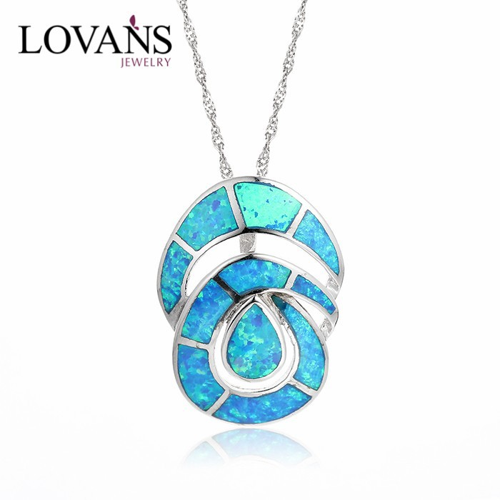 Natural Mexican Blue Opal Necklace Fashion Jewelry SPI004W