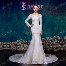 off the shoulder natural waist long sleeve full lace mermaid wedding dress 2015