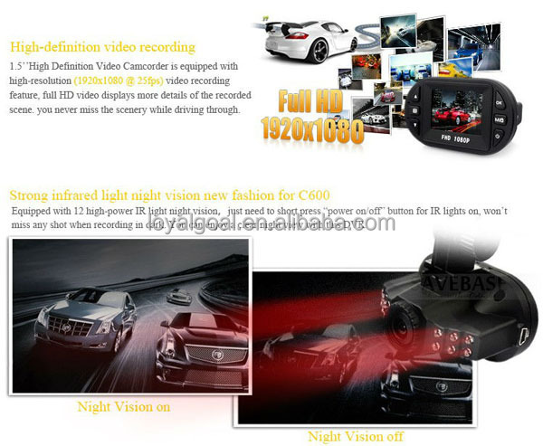 Mini hidden car dvr camera C600 with night vision