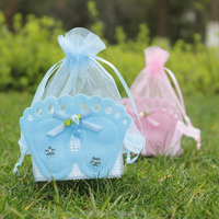 Plastic Basket Organza Pouch Gift Bags Baby Shower Accessory Baby Feet Decor Favor Bags