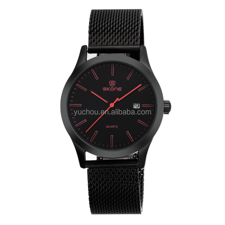 SKONE Black Red Stainless Steel Mesh Strap Mens Wrist Watch