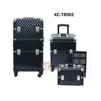 2 in 1 Professional Large Train Makeup Case, Rolling Beauty Case With 1 or 2 detachable Section for using separetely,Extra Cap