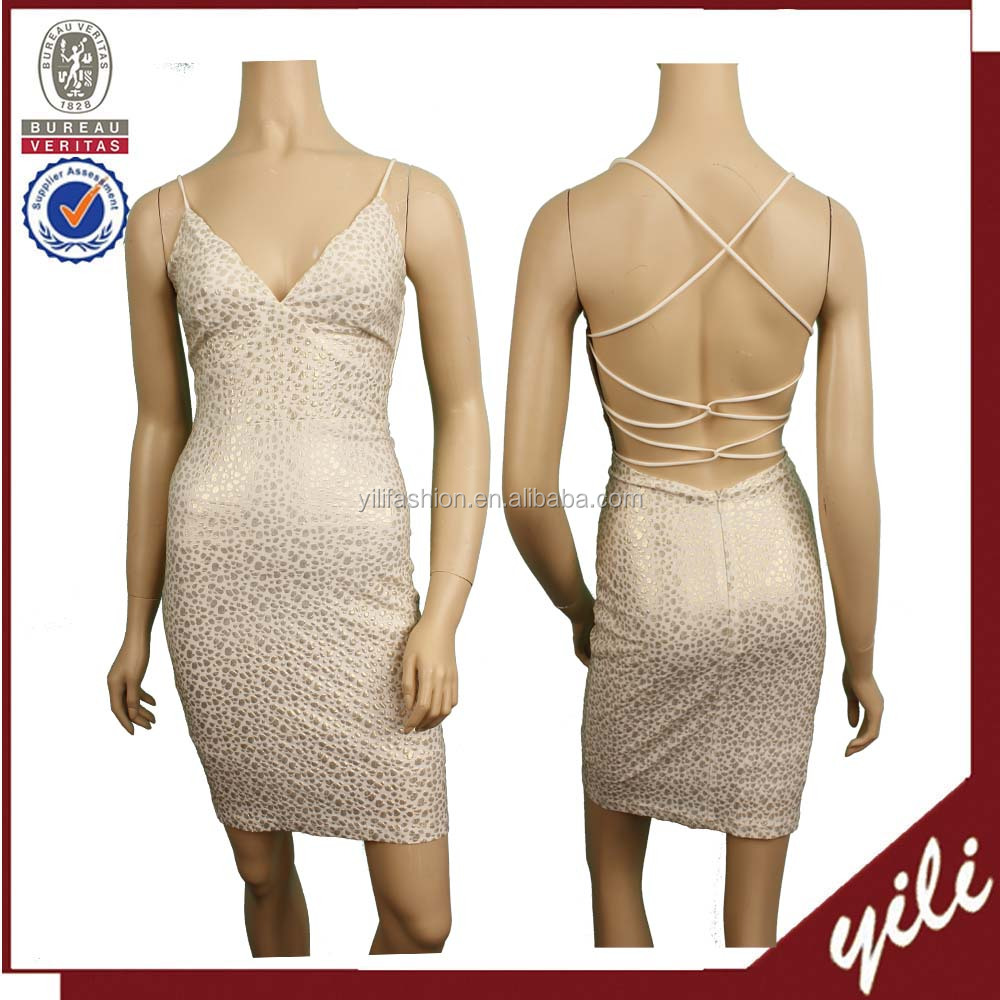 2017 Backless bandage sexy girls real picture of cocktail party dress